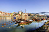 Boats on douro river in Porto Portugal — Stock Photo