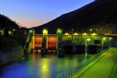 Hydro electricity plant at dusk — Stock Photo