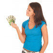 Attractive young girl with euro banknotes in her hand — Foto de Stock