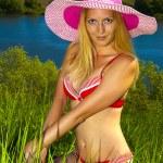 Beautiful tanned woman with sexy body, bikini. summer — Stock Photo #5739100