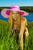 Beautiful tanned woman with sexy body, bikini. summer — Stock Photo