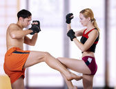Fight of young couple — Stock Photo