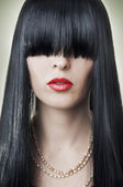 Fashion female face with red lips — Stock Photo