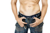 Sexy Muskular man stomach. — Stock Photo