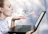 Young woman with computer. Blogger — Stock Photo