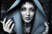 Halloween. Fashion portrait of witch — Stock Photo