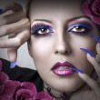 Portrait of beauty woman with fashion makeup - Stock Photo