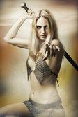 Portrét fantasy sexy žena fighter — Stock fotografie