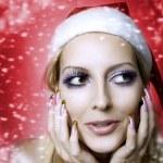 Woman model. Christmas bright make-up — Stock Photo