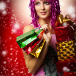 Glamour portrait of christmas happy woman, gifts — Stock Photo #6743783