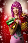 Glamour portrait of christmas happy woman, gifts — Stock Photo