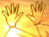 Two hands Gold Sign — Stock Photo