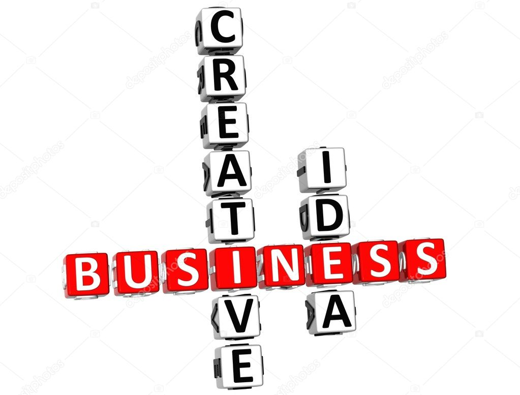 3D Business Creative Idea Crossword on white background — Stock Photo #5756669