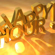 Foto Stock: Happy Hour Gold Text