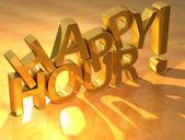 Happy hour złota tekst — Zdjęcie stockowe