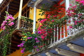 Balcony with flowers. Spanish colonial home. Cartagena de Indias, Colombia. — Stock Photo