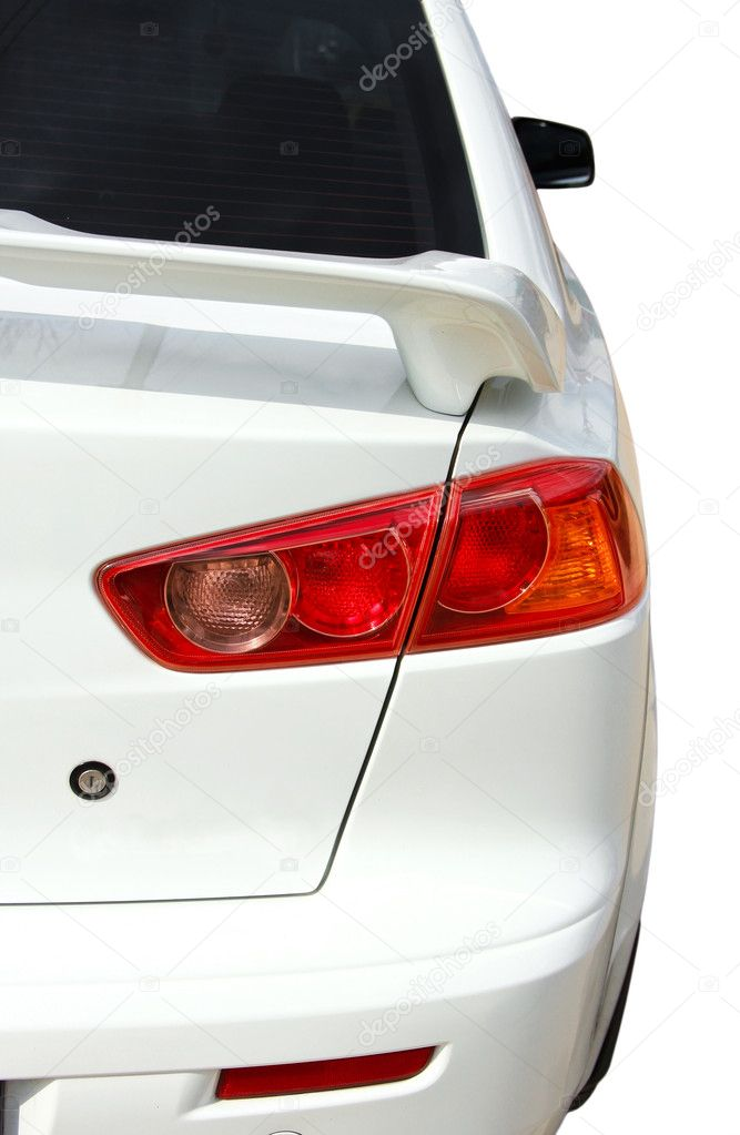 Back side of white sport car isolated over — Stock Photo #5519231