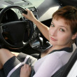 Inside interior of sport auto with driving beautiful woman — Stock fotografie