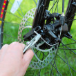 Adjusting Bicycle Gears with Pliers — Stock Photo