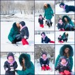 Mother and child having fun outdoors on beautiful winter day — Stock Photo #6069591