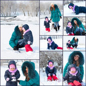Mother and child having fun outdoors on beautiful winter day — Stock Photo