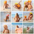 Stock Photo: Little girl and her mother at beach