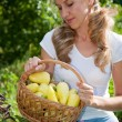 Stock Photo: Young woman holding vegetables in the garden