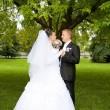 Stock Photo: Happy bride and groom on wedding day