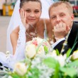 Happy bride and groom on wedding day — Stock Photo