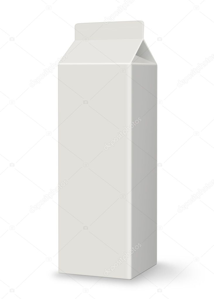 Blank carton perfect for juice or milk. Isolated on white background with shadow and plenty of copy space. Clipping path included. — Stock Photo #5497360
