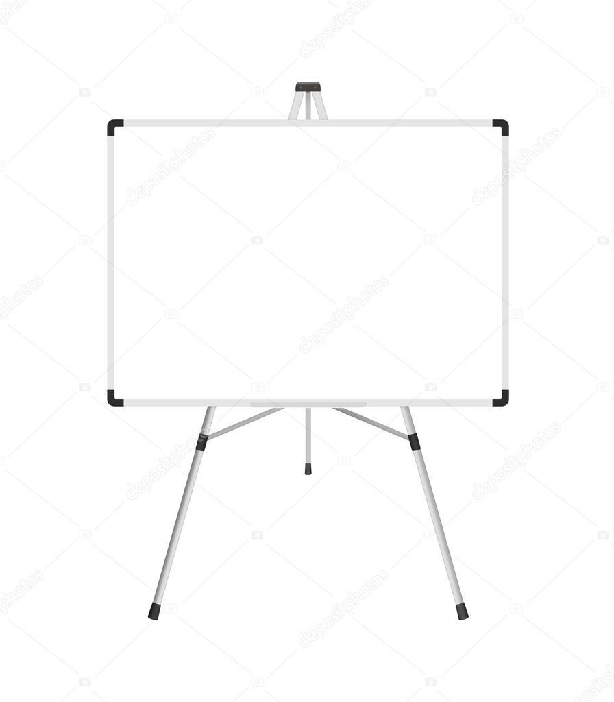 Blank whiteboard with stand isolated on a white background  Stock Photo #5828277