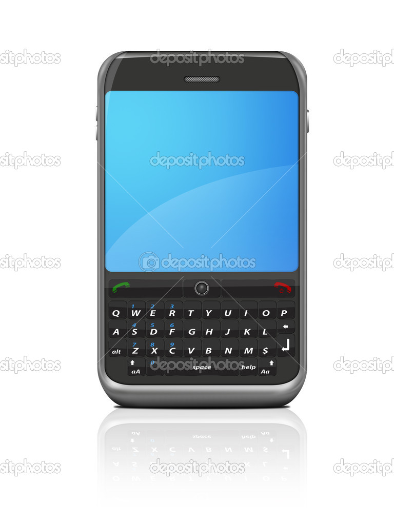 Modern internet cell phone / mobile isolated on a white background with reflection. — Stock Photo #6077104