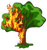 Tree on fire — Stock Vector