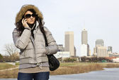 Girl with the phone in Indianapolis — Stock Photo