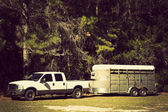 Pick up with horse trailer — Стоковое фото