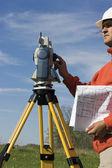 Land Surveyor in the field — Stock Photo