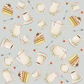 无缝背景。插图咖啡罐、 壶、 勺、 板、 蛋糕. — 图库矢量图片