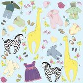Sorunsuz background.illustration küçük childs elbise ve oyuncaklar. tebrik araba — Stok Vektör