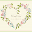 Hand drawn valentines day greeting card. Decorative framework with flowers. — Stock Vector