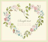 Elle çizilmiş sevgililer günü tebrik kartı. dekoratif çerçeve çiçek. — Stok Vektör