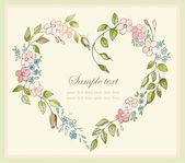 Hand drawn valentines day greeting card. Decorative framework with flowers. — Stok Vektör