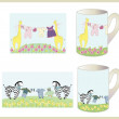 Set of children's cups. — Vettoriale Stock