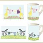 Set of children's cups. — 图库矢量图片