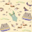 Illustration of vintage bathing suit, bag, summer footwear. Seamless backgr — 图库矢量图片