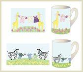 Set of children's cups. — Stock Vector