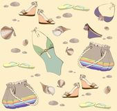 Illustration of vintage bathing suit, bag, summer footwear. Seamless backgr — Stok Vektör