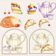 Illustration of a fruitcake, pie, croissant, cup, coffee pot,teapot, milk j — Stock Vector #5882548