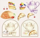 Illustration of a fruitcake, pie, croissant, cup, coffee pot,teapot, milk j — Stok Vektör