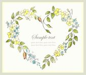 Hand drawn valentines day greeting card. Decorative framework with flowers. — Stock vektor