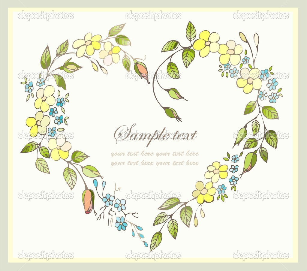 Hand drawn valentines day greeting card. Decorative framework with flowers. — Imagen vectorial #5892759
